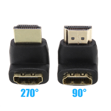 цена на 2PCS/lot 90 + 270 Degree Right Angle Gold Plated HDMI Adapter Connector A type Male to Female for 1080p 3D TV HDTV