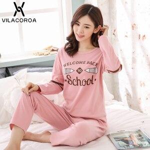Image 3 - Autumn Winter Cotton Print Womens Pajamas Sleep Round Neck Long Sleeve Top Long Pant Pajamas Set Woman Sleepwear Pyjamas Women