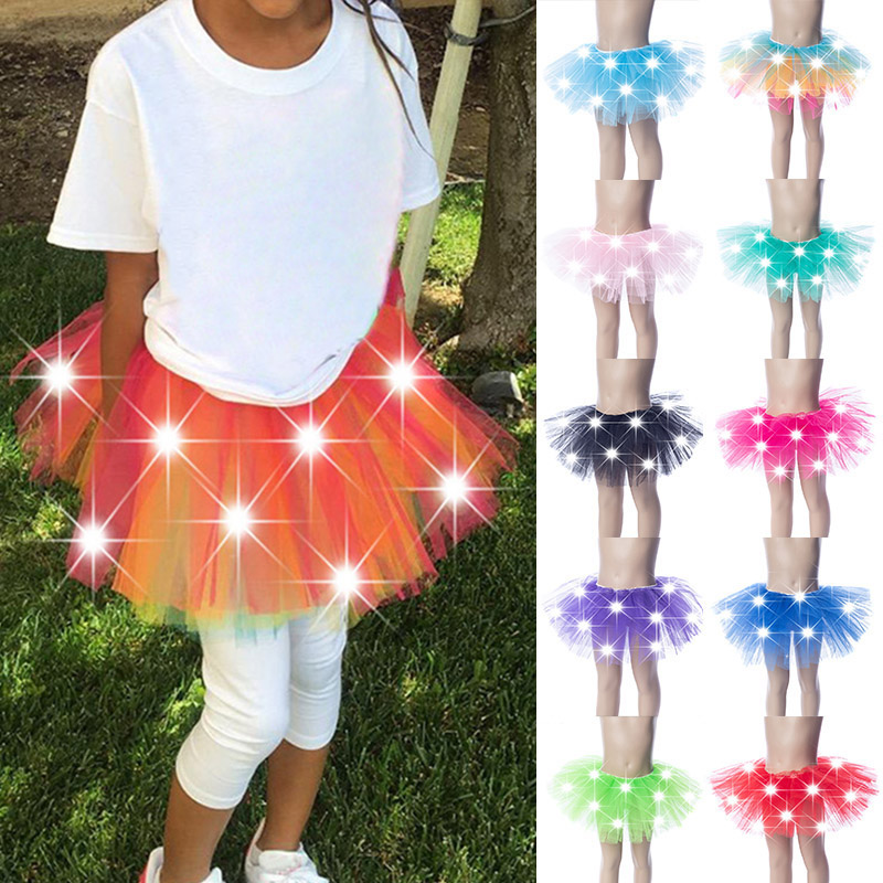 LED Kids Tutu Skirt Children's Light Mesh Princess Dress Luminous Dance Skirt  Christmas Party Stage Layered Tulle Ballet Skirt