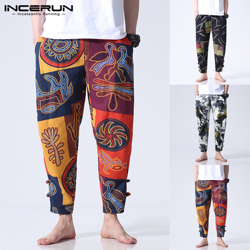 2020 Men Harem Pants Chinese Style Ethnic Style Cotton Printed Loose Elastic Waist Streetwear Trousers Men Casual Pants INCERUN