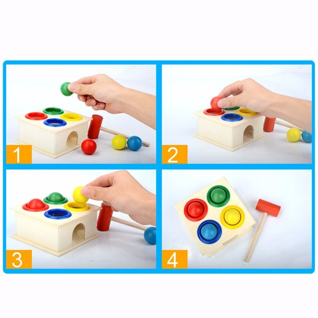 1Set Wooden Hammering Ball Hammer Box Children Fun Playing Hamster Game Toy Early Learning Educational Toys 5