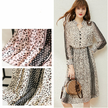 Wide 59'' High-grade Leopard Printed Chiffon Wave Point Fabric For Clothes Skirts Shirts Material By The Yard the yard