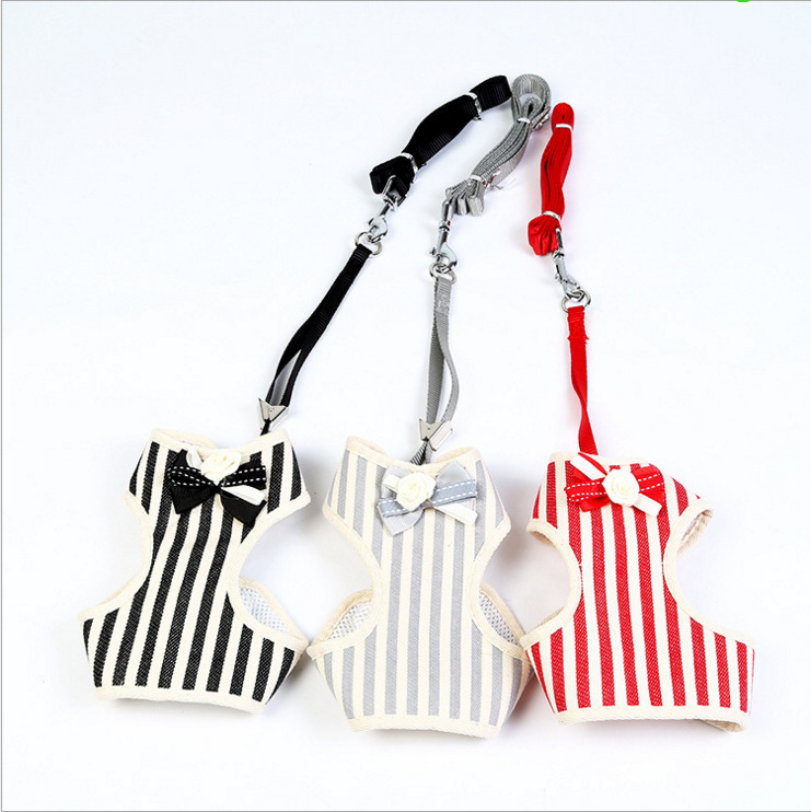 Pet Supplies New Products Stripes Bow Tie Vest Style Pet Strap Dog Hand Holding Rope