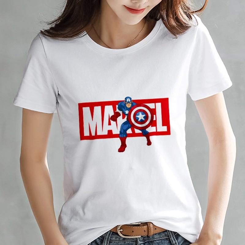 2019 Fashion T Shirt Women Marvel Avengers Printed Harajuku Thin Section Short Sleeve T-shirt White Tops Female Clothing Tshirt
