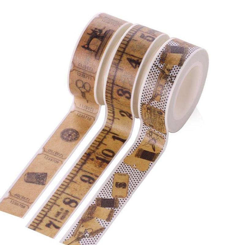 1 Pcs Vintage Ruler Pattern Washi Tape Decorative Adhesive Masking Tapes Label Stickers DIY Scrapbooking Album Stationery