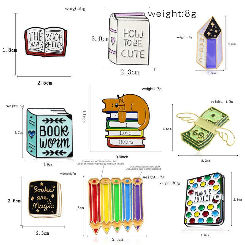 Sihir Penyihir Buku Bros Cute Heart Membaca Planner Pecandu Kristal Ajaib Lukisan Pensil Bunga Pita Enamel Pin Reader Hadiah