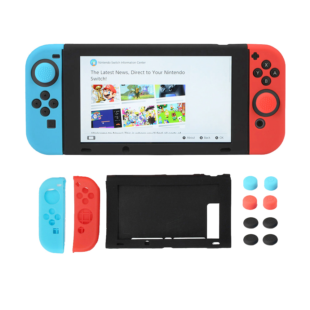 Soft Silicone Case For Nintendo Switch Protective Case Cover Thumb Stick Cap For NS Controller Full Body Protection