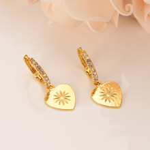 Gold Color cz crystal Heart Earrings Women/Girl,Love Trendy rhinestone Jewelry for African/Arab/Middle Easterncrystal best gift(China)