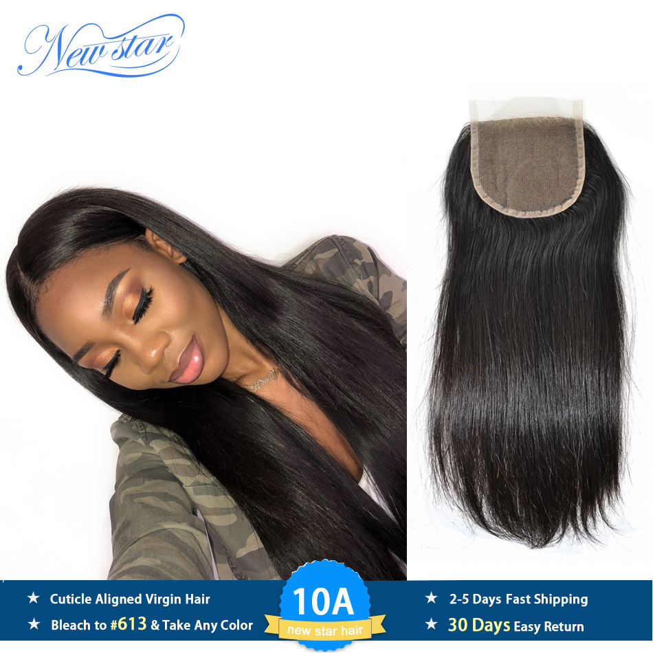 New Star Brazilian Straight 4''x4'' Lace Closures With Baby Hair Knots Bleached 100% Virgin Human Hair Medium Brown Swiss Lace