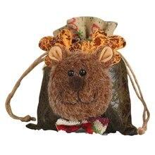 Christmas Apple Bags Santa Claus Snowman Deer Drawstring Candy Gift Bag