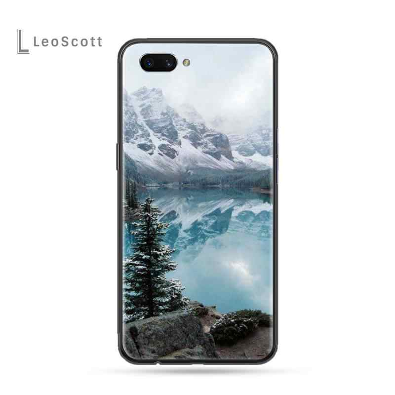 Orman dağ yol desen boyalı Bling telefon kılıfı için OPPO F 1S 7 9 K1 A77 F3 RENO F11 A5 a9 2020 A73S R15 REALME PRO