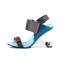 Vintage Design 2021 kobiety pasek letnie klapki Gladiator żelaza krzesła wysokie obcasy plaża Sandalias Femmes modne niebieskie Zapatillas