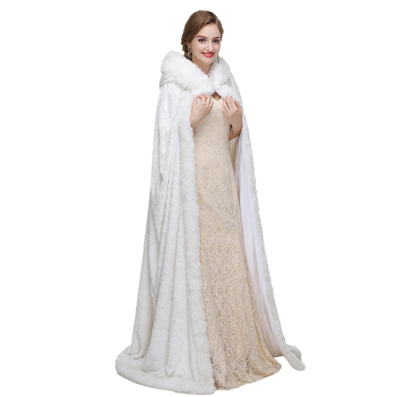 Long Faux Fur Cape White Bridal Wedding Cape Hooded Cloak Winter Wedding Dress Shawls And Wraps Jacket Custom Black Red Burgundy