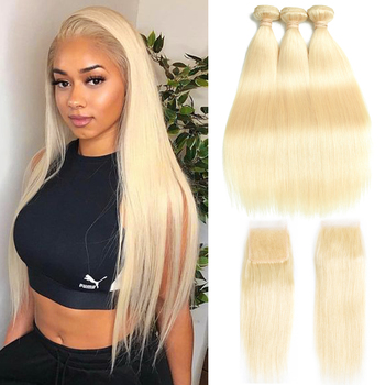 Beaudiva Straight Hair 613 Bundles With Closure Peruvian Hair Weave Bundles With Closure Human Hair Blonde Bundles With Closure
