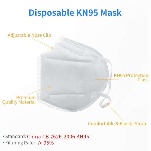 100pcs KN95 Mask Dust Masks Anti Flu Mask Prevent Anti Dusts PM2.5 Bacterium Safety Disposable Mask Face Mouth Masks Ship Fast 4