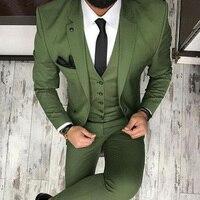 Arm Green Men Suits for Wedding Tuxedos 2020 Three Pieces Groom Waistcoat Blazer Latest style( Jacket+Pants+Vest)