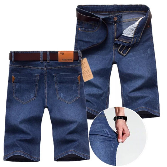 Summer Thin Section Denim Shorts Male Fifth Pants Youth Slim Fit Elasticity Straight-Cut Shorts Trend Breeches