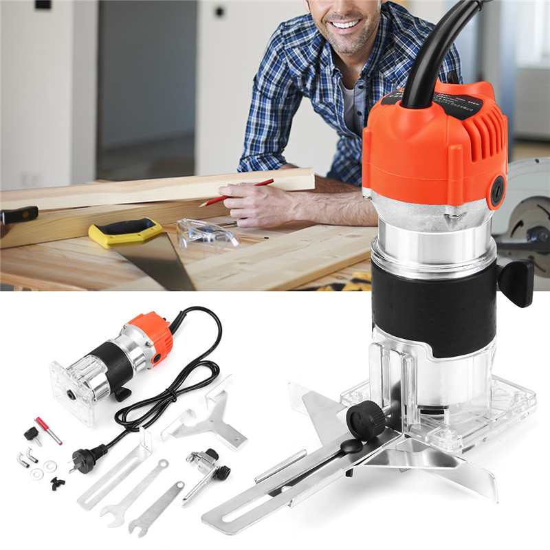 Wood Electric Hand Trimmer 220V 800W 30000r/min Collet 6.35mm AU Plug Corded Wood Laminator Router Joiners Aluminum Power Tools