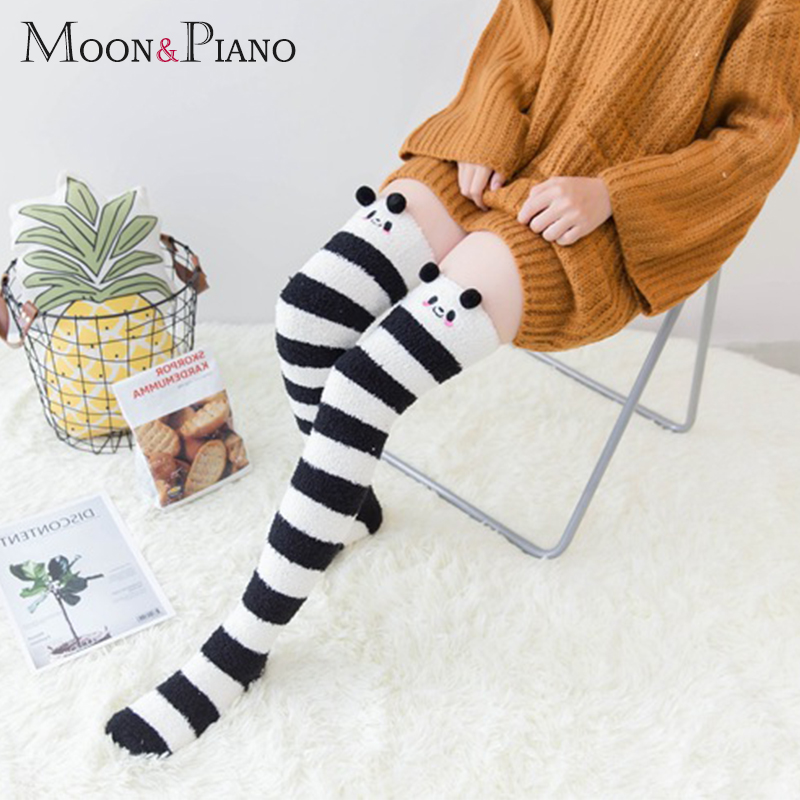 Women Winter Warm Coral Cotton Stockings Striped Long Thigh High Girls Animal Modeling Cute Lovely Cartton Home Thick Stocking
