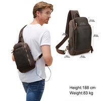 Tiding Men Vintage Genuine Leather Backpack Shoulder Cool Sling Chest Bag Daypack Wide Open Pocket With USB Charging Port