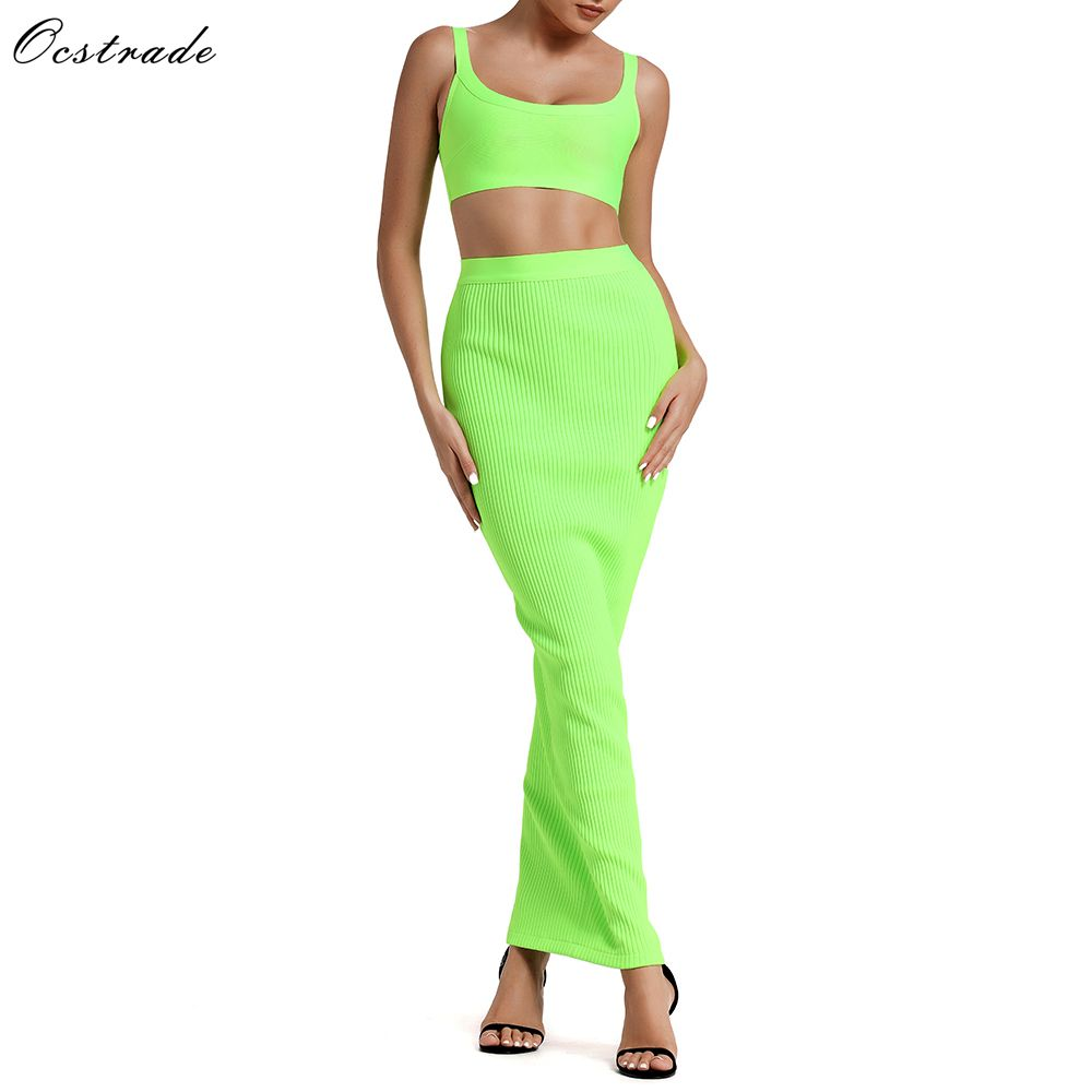 Ocstrade Summer Bandage 2 Piece Set 2019 New Arrival Women Neon Green Dress Bodycon Two Party