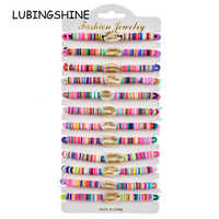 12pcs/Sets Gold Shell Braided Bracelets for Women Child Soft Clay Adjustable Charms Rope Chain Anklets Boho Girl Jewelry