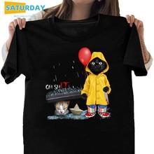 Women Black Cat Oh Shit Cat Pennywise It 100% Cotton T Shirt Funny Cartoon T-shirt Girl Casual Cool Streetwear Tshirt,Drop Ship