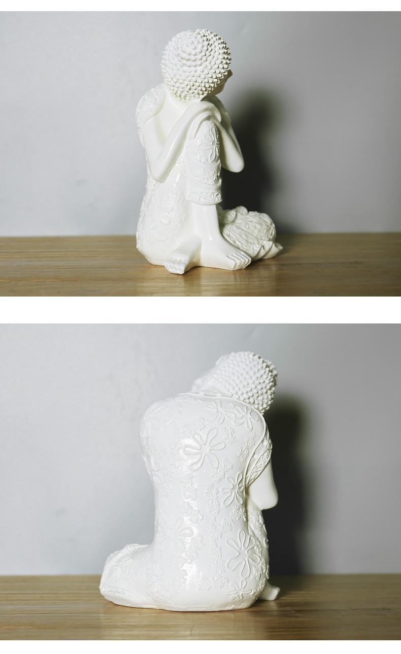 resina Zen blanco Buda durmiendo estatua artesanía chino estilo antiguo Decoración