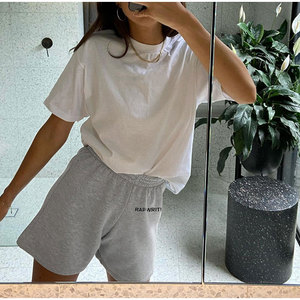 Women Cotton Grey Elastic band Sports Shorts Lady Solid Mid Waist Straight Short Bottoms 2020 Summer Female Sport Shorts