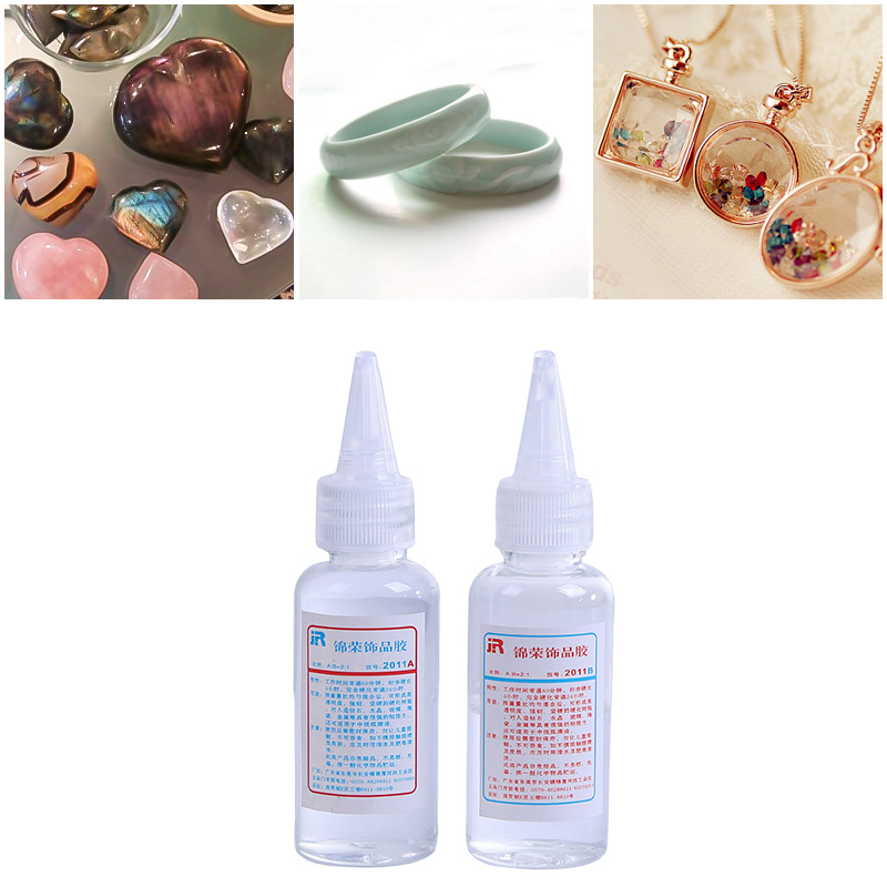 2pcs/set Crystal Clear Resin Epoxy Resin AB Glue White For DIY Jewelry Making Accessories