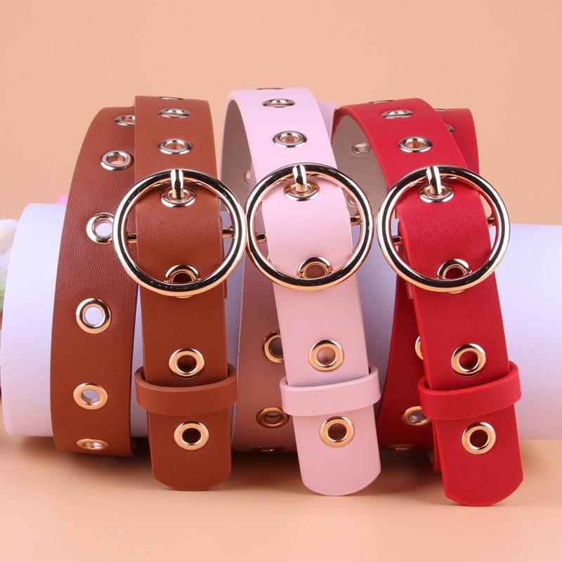 Women Fashion Round Shape Buckle Waist Belt Metal Buckle Casual PU Leather Belts Solid Women's Leather Belt