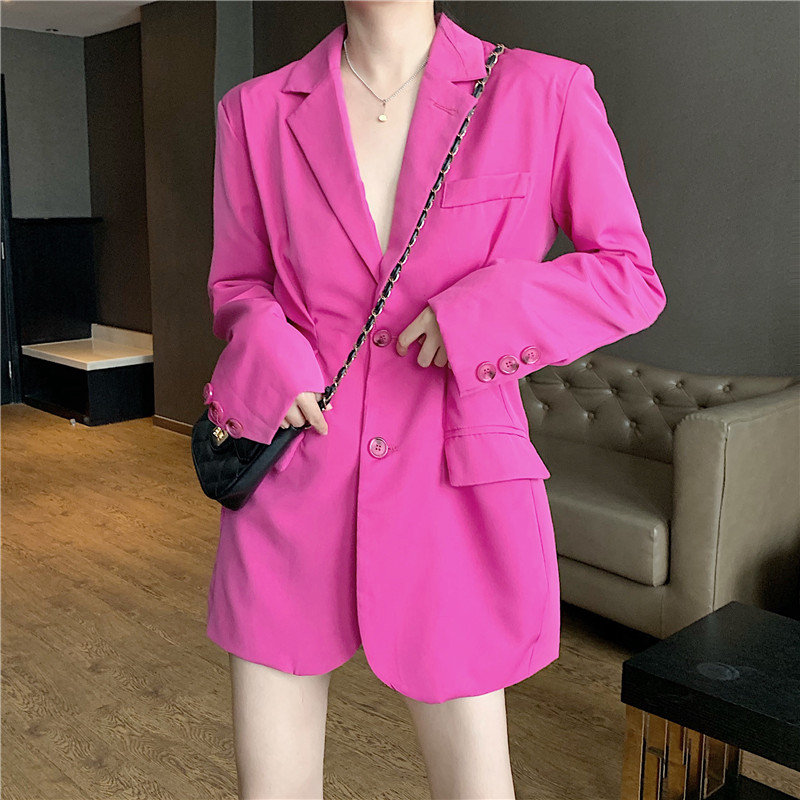 HziriP Rose-Red Slimming England Style Casual All-Match 2019 Women Fresh Chic Gentle Office Lady Loose Solid Leisure Blazers