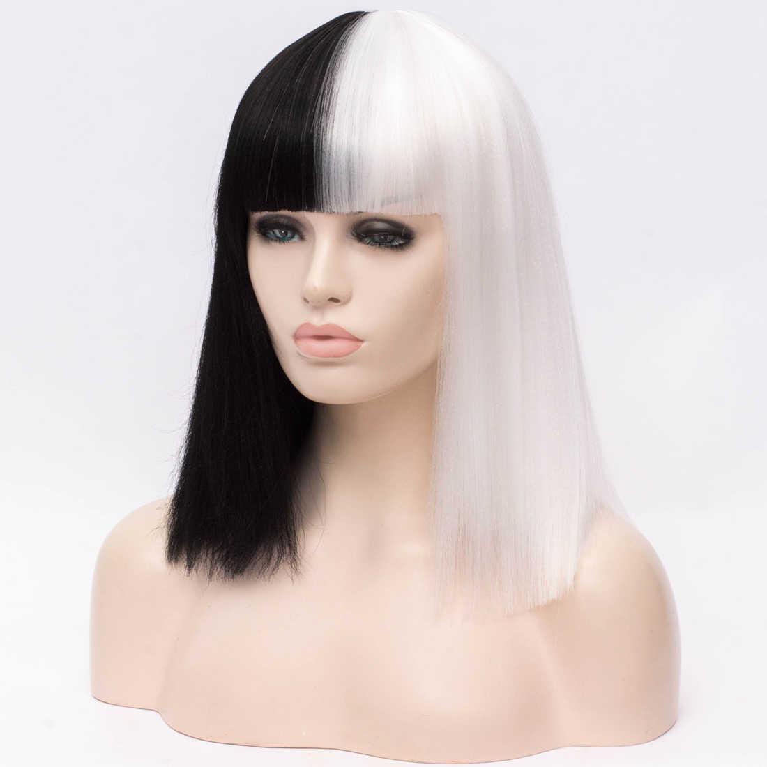 Similler Mix Kleur Zwart & Wit Gothic Korte Yaki Straight Ombre Haar Synthetische Cosplay Pruiken Voor Vrouwen Halloween + Cap