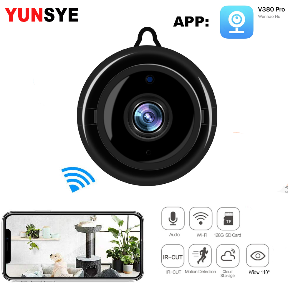 YUNSYE 1080P WiFi Camera Home Monitor Mini Camera IP Camera IR Wireless CCTV TV Monitor Motion Detection Baby Monitor V380 Cam