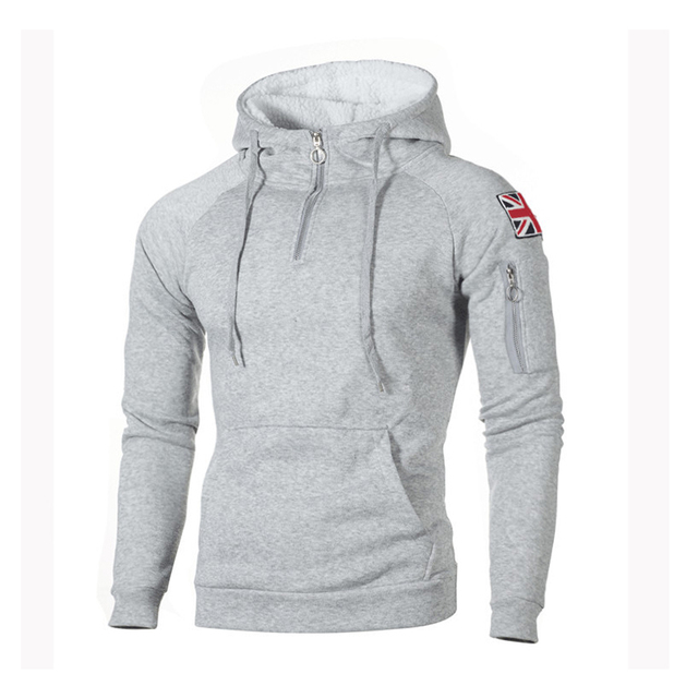 Hip Hop Zipper Hooded Sweatshirt Men