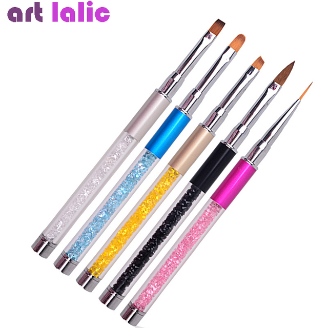 Nail Art Brush Pen Rhinestone Diamond Metal Acrylic Handle Carving Powder Gel Liquid Salon Liner Nail Brushes With Cap