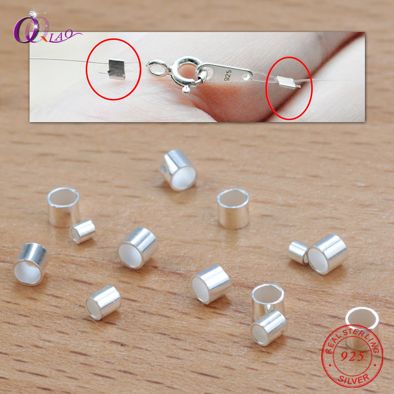 10 PCS 925 Sterling Silver Crimp & End Beads 1.5mm,2mm,2.5mm Silver Crimps Silver End Beads For Jewelry Making Jewelry Findings