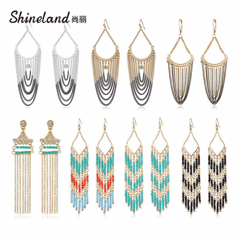 Shineland Cheap High Quanlity Long Link Chain Tassel Beads Drop Dangle Earrings Bohemian Ethnic Vintage Brincos for Women Gift