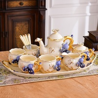 European tea set with tray small luxury teapot coffee cup coffee set with British afternoon tea household ceramics
