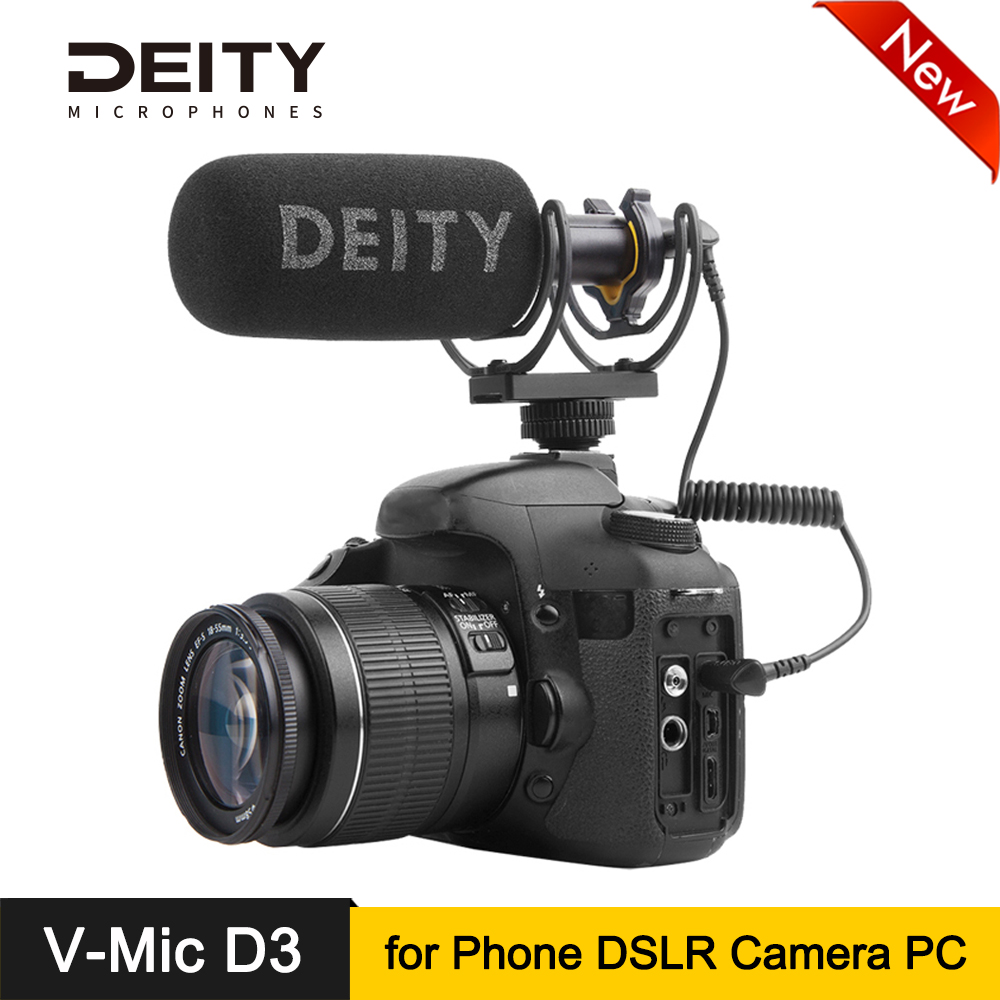 Laptop and Bodypack Transmitters Camcorders Handy Recorders Deity V-Mic D3 Pro Super-Cardioid Directional Shotgun Microphone with Rycote Shockmount for DSLRs Smartphones Tablets