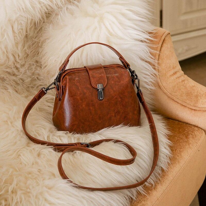 Doctoc sac femmes cuir sac à main 2019 dames petit sac fourre-tout Vintage sac à bandoulière pour filles cadenas messagers noir marron rouge - 3