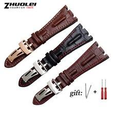 Sangles pour bracelets bracelet de montre, en cuir véritable, faites à la main, 28mm, noir