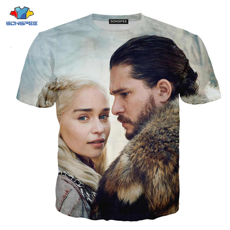Sonspee Terbaru Kaos Game Of Thrones Tshirt Night King & Dragon T-shirt 3d Cetak T-shirt Musim Panas Hip Hop lengan Pendek