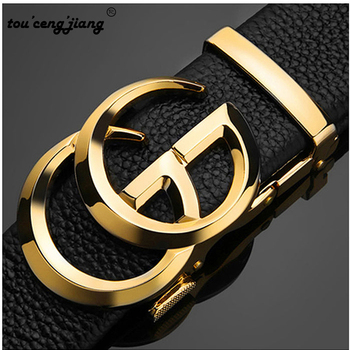 tou ceng jiang luxury fashion Men Belt Genuine Leather Strap For Male Cowskin Designer Belts Automatic Alloy Buckle designer fashion men belts luxury automatic buckle cowskin genuine leather belt for men business black waist male strap zd051