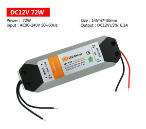 Image 2 - 18W 36W 72W 100W LED 전원 공급 장치 DC12V 드라이버 LED 스트립 조명 12V 전원 공급 장치 어댑터에 대 한 고품질 조명 트랜스 포 머