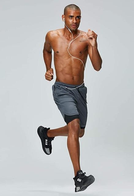مزدوجة سطح السفينة تشغيل السراويل الرجال الصالة الرياضية اللياقة البدنية التدريب التجفيف السريع السراويل الذكور في الهواء الطلق الرياضة الركض برمودا شورت كرة السلة القصير