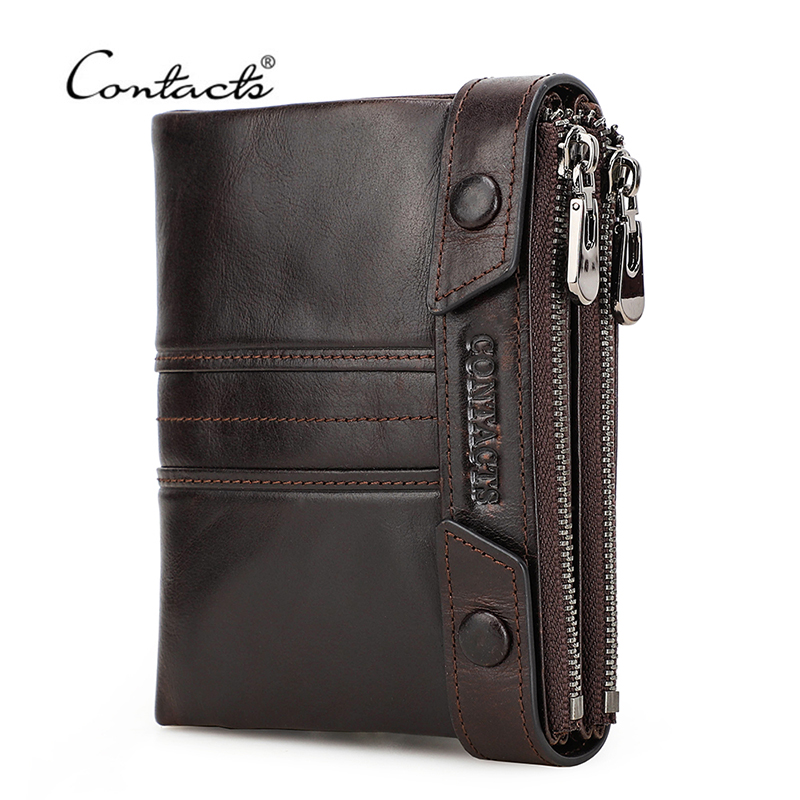 CONTACT'S Genuine Leather Men Wallet Double Zippers Design Coin Purse Small Mini Card Holder Wallets Rfid Money Bag Male Purses