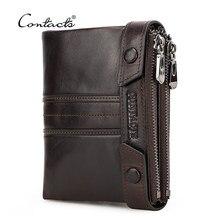CONTACT'S-billetera de doble cremallera de cuero genuino para hombre, monedero pequeño, tarjetero, Rfid