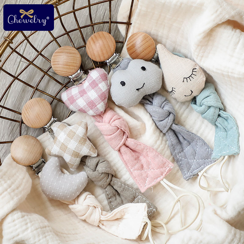 1pc Baby Dummy Pacifier Chain Clip Cotton Cloth Plush Dolls Animal  Wood Rodent Nipples Holder Newborn Toys Teether Accessories