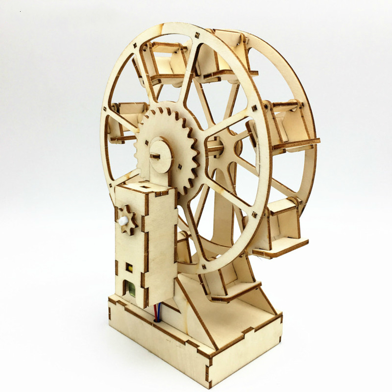 3D DIY Electric Craft Ferris Wheel Puzzle Game Wooden Model Building Kits Science Educational Toys For Children Kids Adult Gift